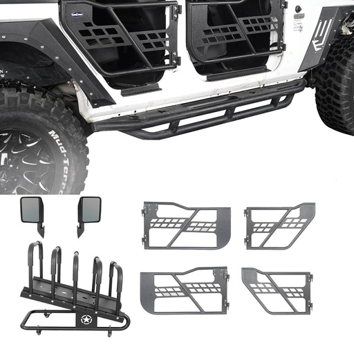 Hooke Road® Tubular Doors, Door Rack(07-18 Jeep Wrangler JK 4 Door)
