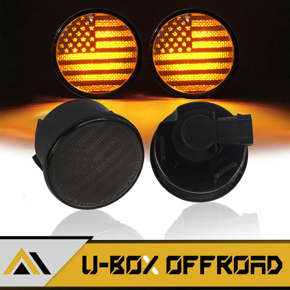 US Flag Imaged LED Amber Turn Signals Lights lens for 2007-2018 Jeep Wrangler JK JKU