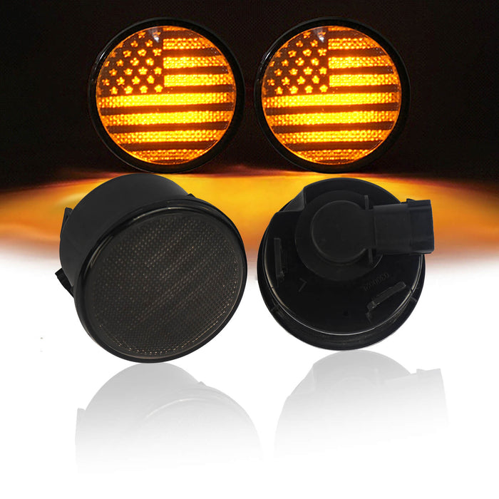 Hooke Road Opar US Flage Imaged LED Amber Turn Signals Lights lens for 2007-2018 Wrangler JK JKU u-Box 1