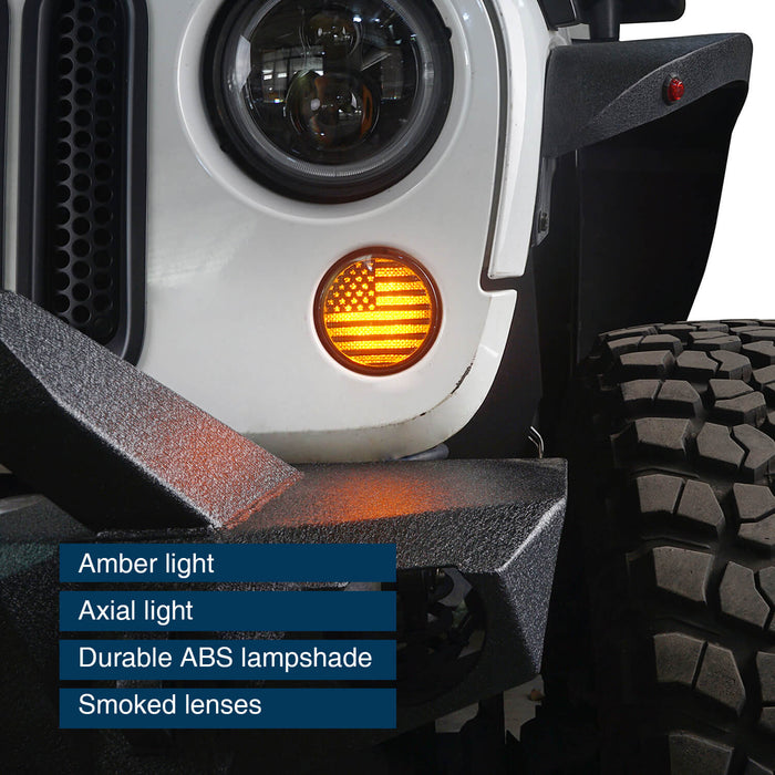 Hooke Road Opar US Flage Imaged LED Amber Turn Signals Lights lens for 2007-2018 Wrangler JK JKU u-Box 3
