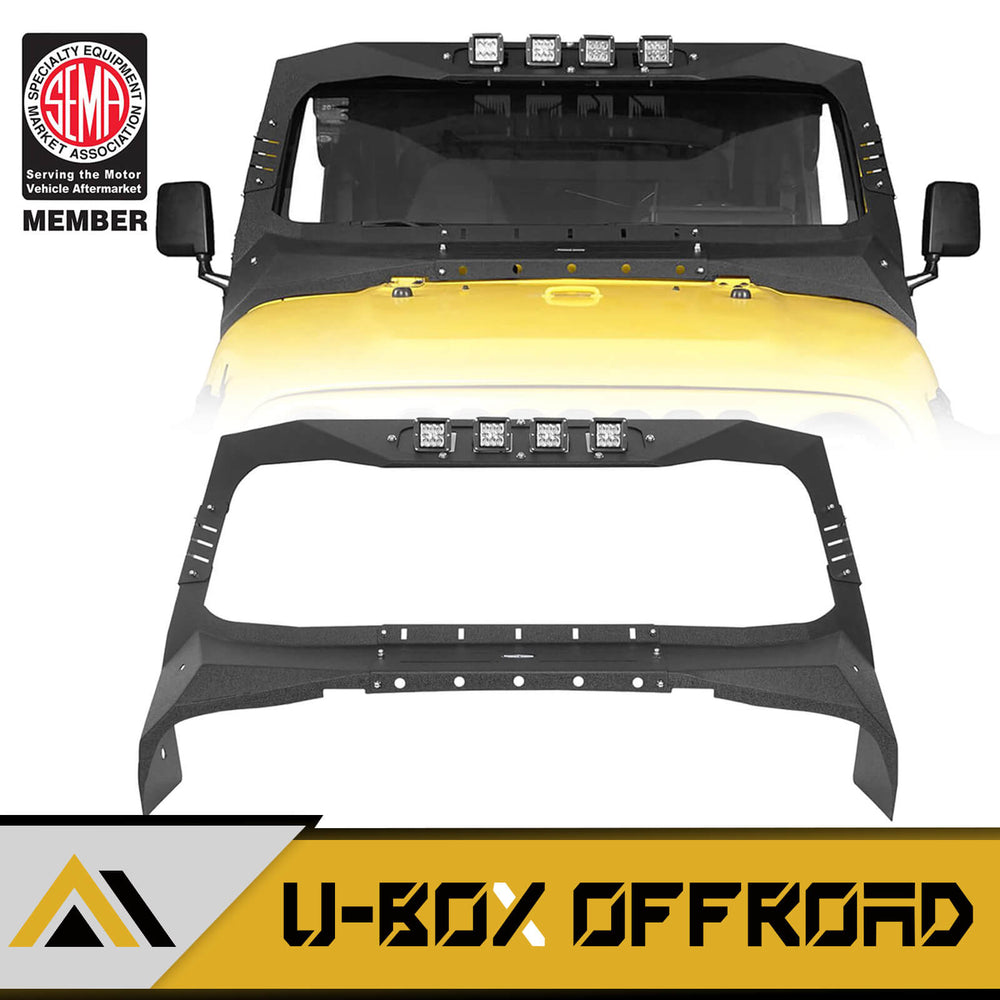 Windshield Frame Cover Visor Cowl Armor w/Lights(97-06 Jeep Wrangler TJ)
