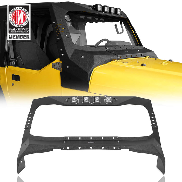 Hooke Road® Windshield Frame Cover Visor Cowl Armor w/Lights(97-06 Jeep Wrangler TJ)