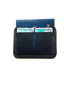 Oakland Passport Wallet | Black (Blue thread accent)