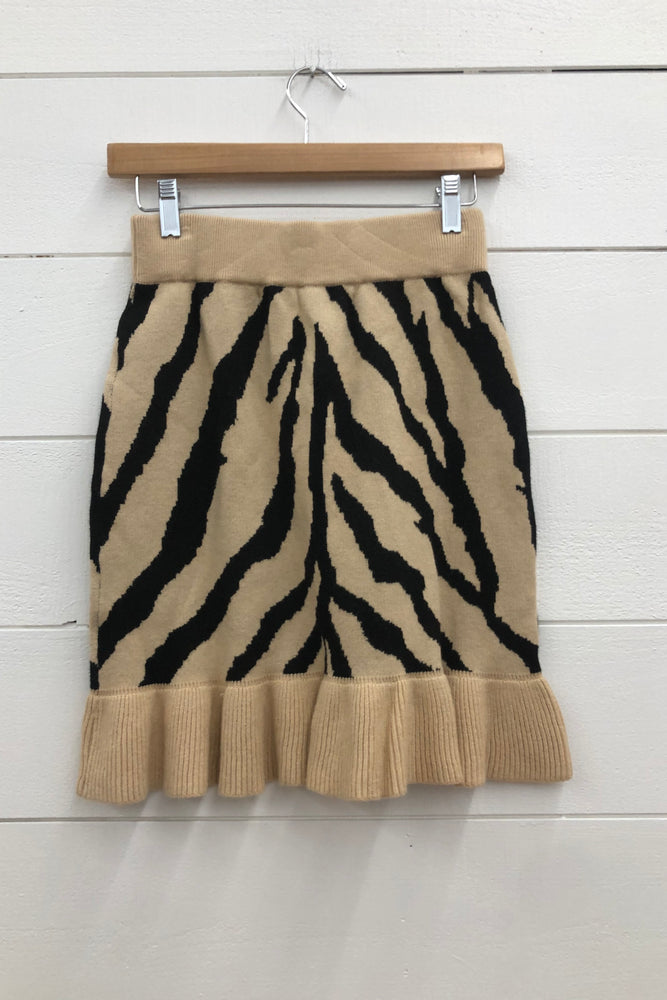 Load image into Gallery viewer, Zebra Knit Mini Skirt OSS