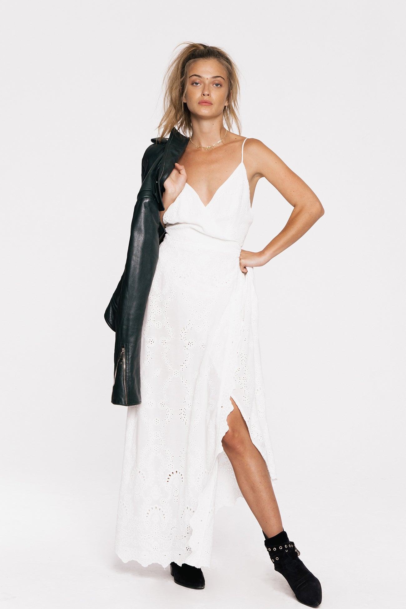 White wrap dress