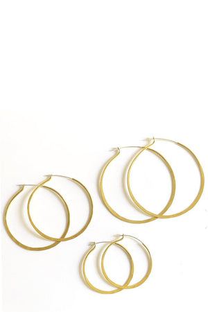 Marisa Mason Classic Hoop Earrings Brass