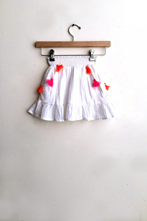 Load image into Gallery viewer, White w/ Orange & Pink Pom Poms