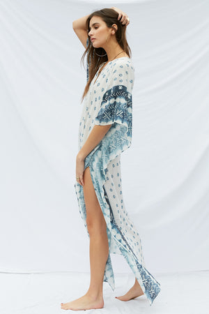 Load image into Gallery viewer, Indigo Mykonos Kaftan