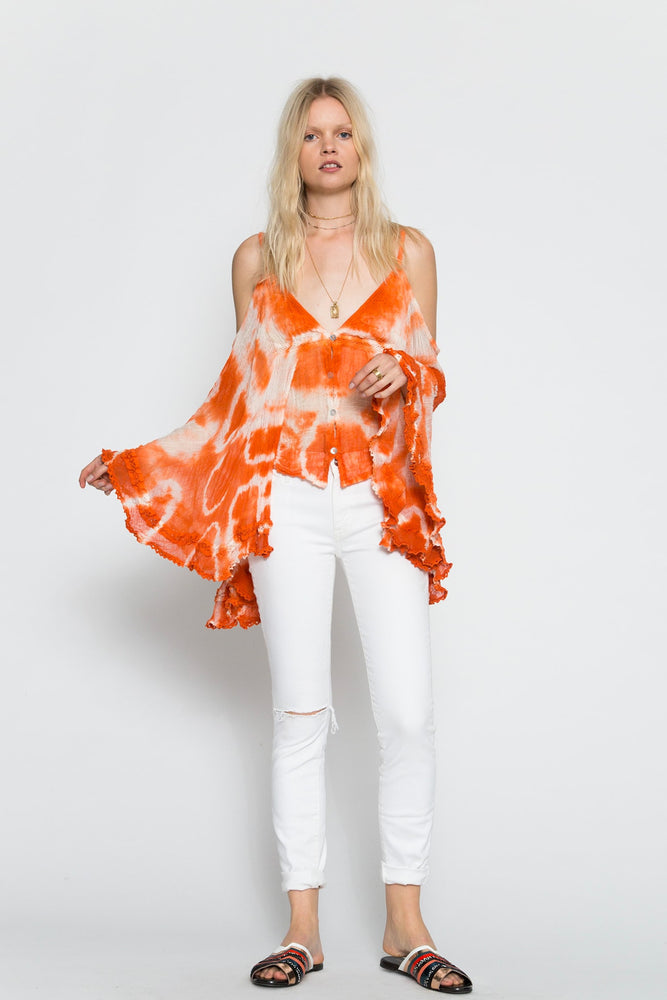 Burnt Orange Geo Tie Dye