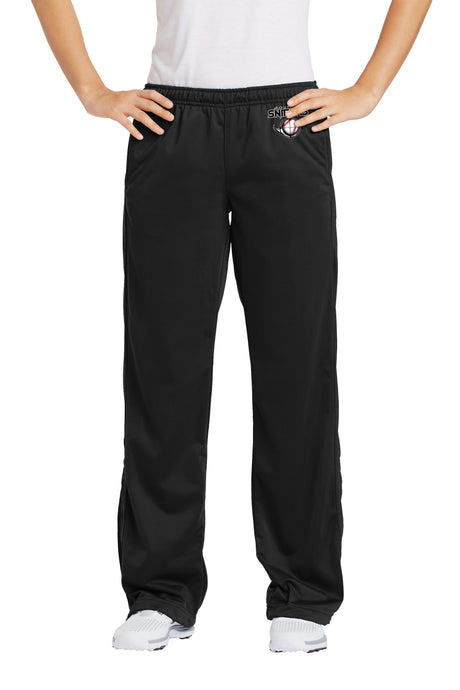 Embroidered Ladies Tricot Track Pant in black LPST91