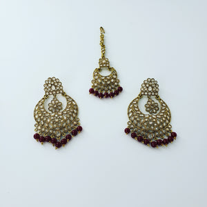 Round Earrings/Tikka (Maroon)