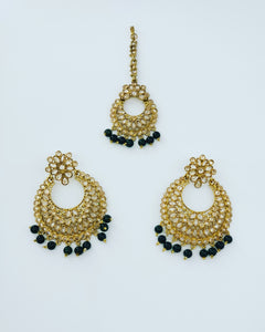 Round Earrings/Tikka (Emerald)