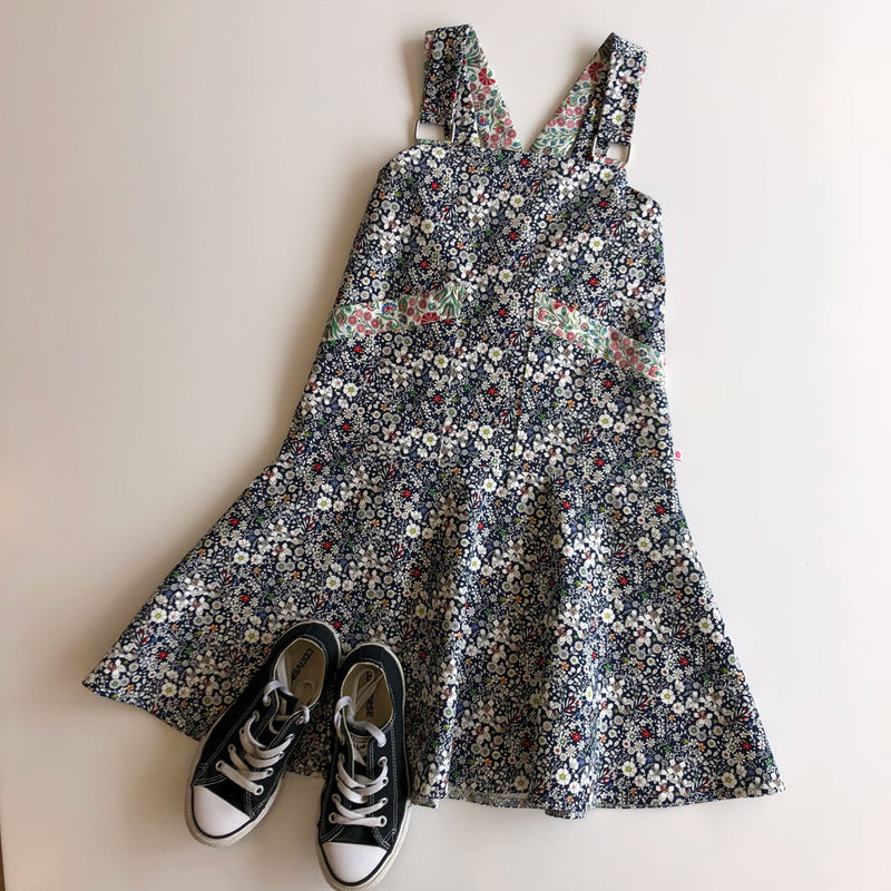 Bardot dress in navy liberty floral print denim