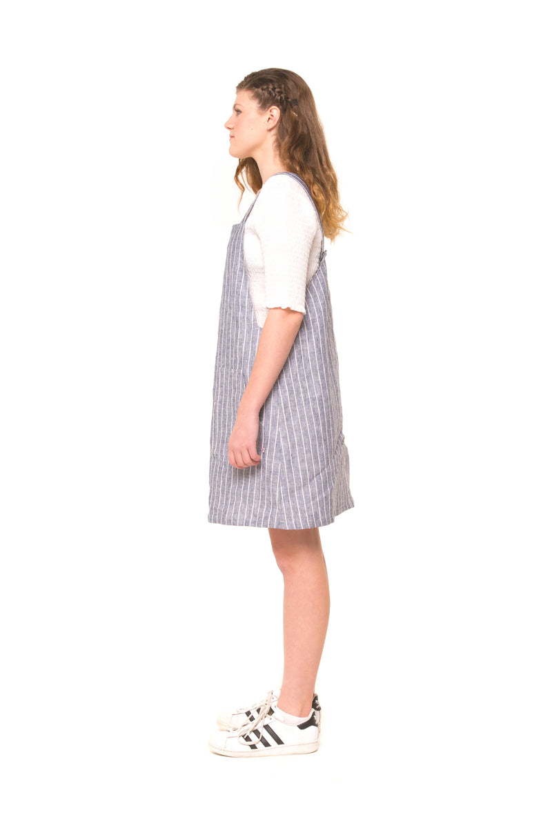Tayla Girls Linen Pinafore - Navy Stripe
