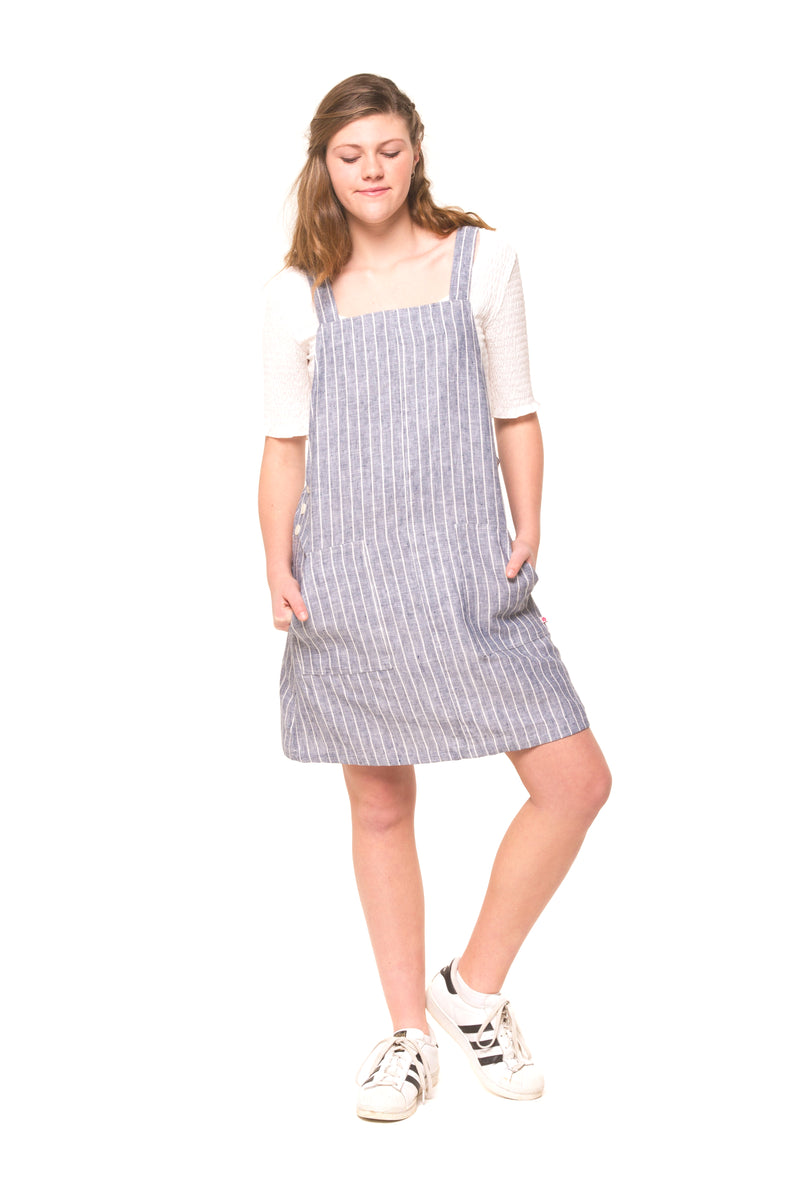 Tayla Pinafore - Navy Stripe Linen