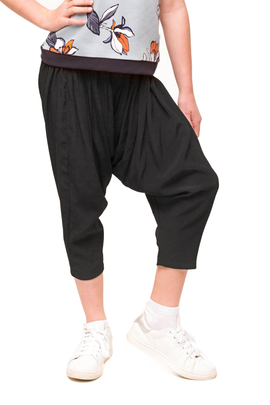 Harlowe Cropped Black Harem Pants