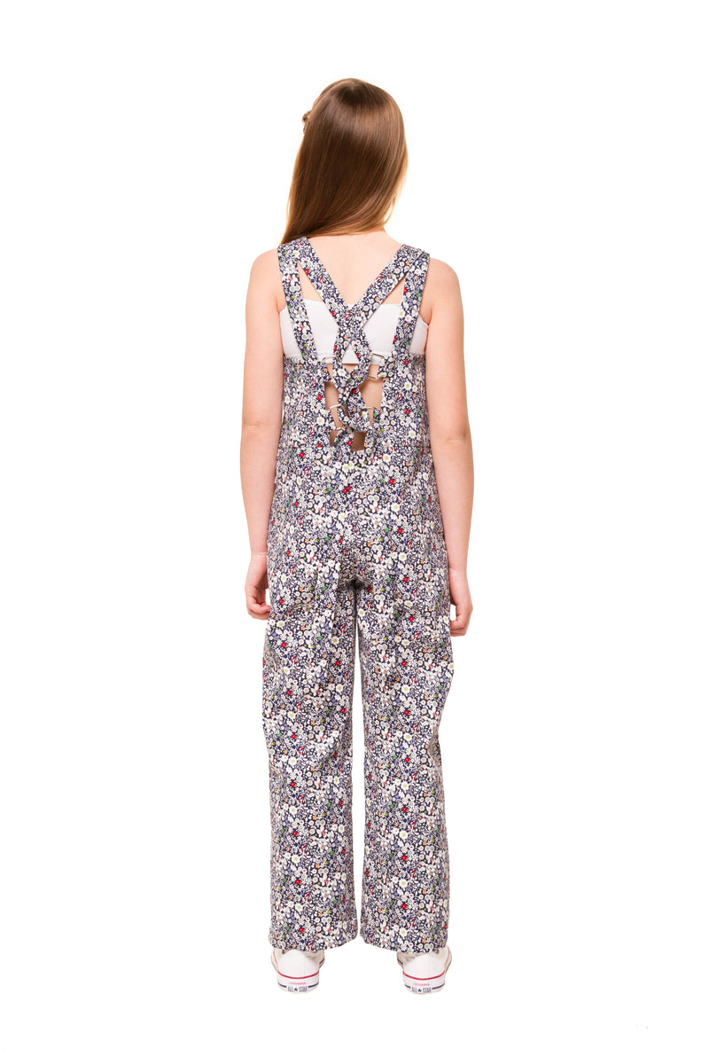 Bronte Girls Floral Denim Jumpsuit – Navy