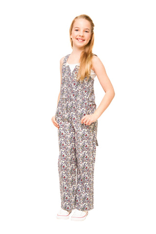 Bronte Girls Floral Denim Jumpsuit – Pink Liberty Print