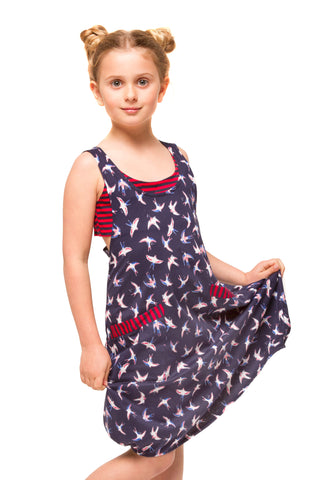 Dixie Girls Dress - Blue Floral