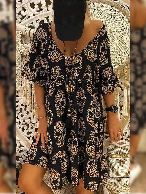 wiccous.com Plus Size Dress Black / S Skull Print Dress