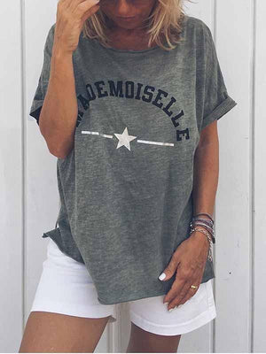 wiccous.com Plus Size Tops Grey / S Mademoiselle Star Print T-Shirt