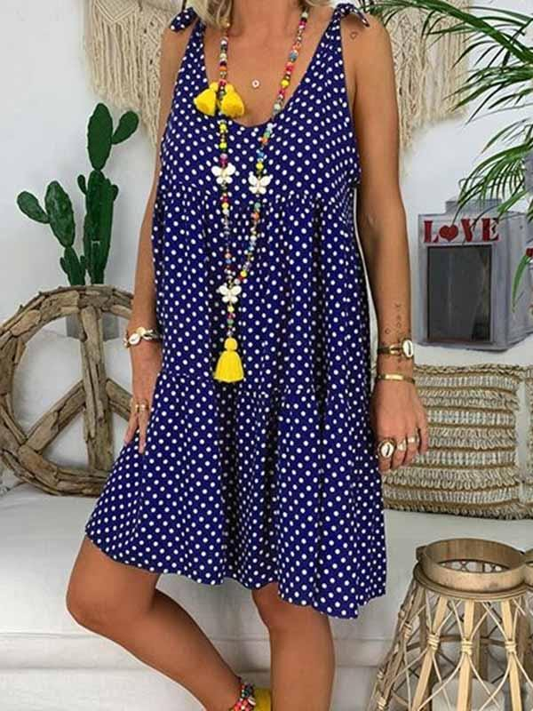 wiccous.com Plus Size Dress Dark blue / S Dot Print Sling Dress