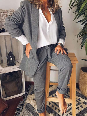 wiccous.com Plus Size Two-Pieces Two-Piece / S Asual Suit Jacket Pants Two-Piece Suit