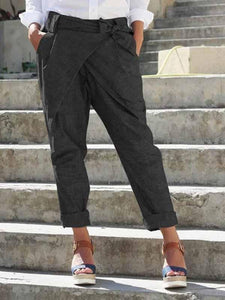wiccous.com Plus Size Bottoms Black / S Bow Tie Pants
