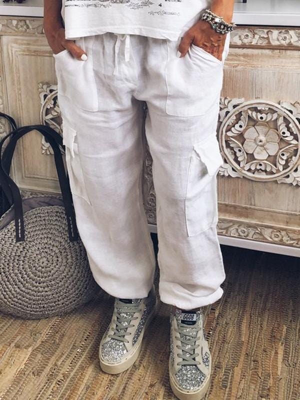 wiccous.com Plus Size Bottoms White / L Plus Size Linen Pocket Cargo Pants