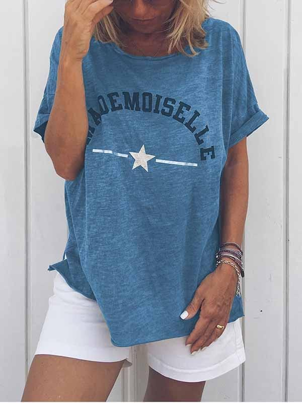 wiccous.com Plus Size Tops Blue / S Mademoiselle Star Print T-Shirt