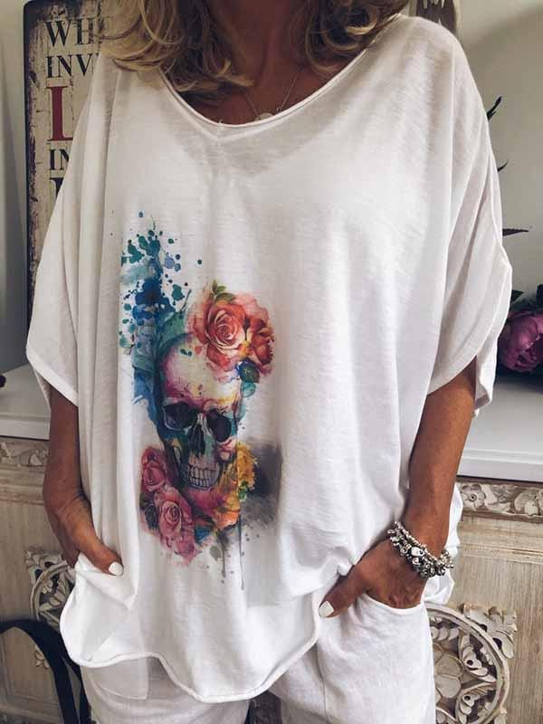 wiccous.com Plus Size Tops White / S Bone Print Shirt