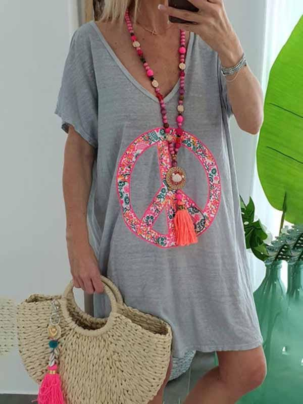 wiccous.com Plus Size Dress Grey / S V-neck print Dress