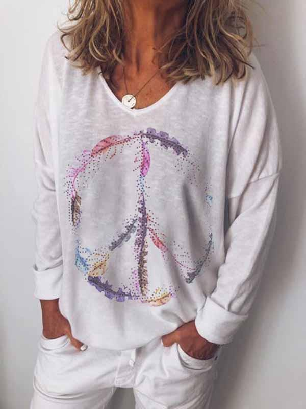 wiccous.com Plus Size Tops White / S Peace Print Long Sleeve Top
