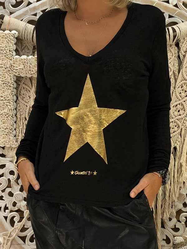 wiccous.com Plus Size Tops Yellow / S Star Print Long Sleeve V-neck Sweatshirt
