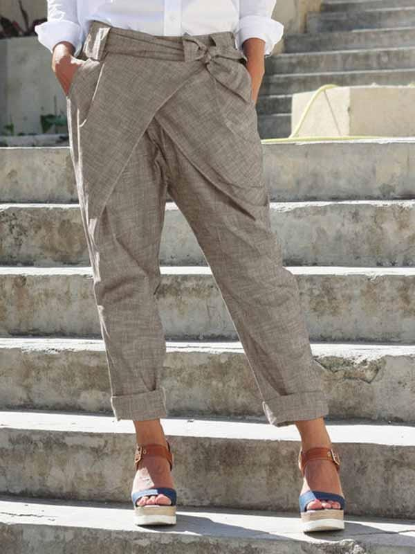 wiccous.com Plus Size Bottoms Khaki / S Bow Tie Pants