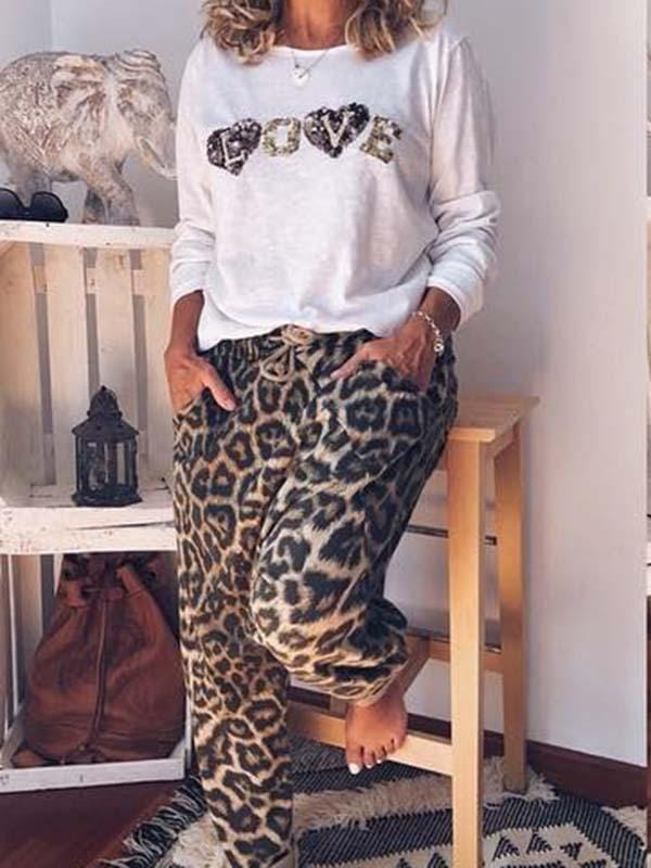 wiccous.com Plus Size Two-Pieces Two-Piece / S LOVE leopard print two-piece suit