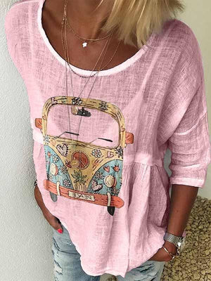 wiccous.com Plus Size Tops Pink / S Round Neck Car Print T-Shirt