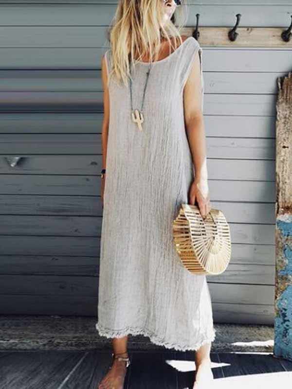 wiccous.com All Dress,Plus Size Dress milky-white / S Women's solid color cotton linen lace dress