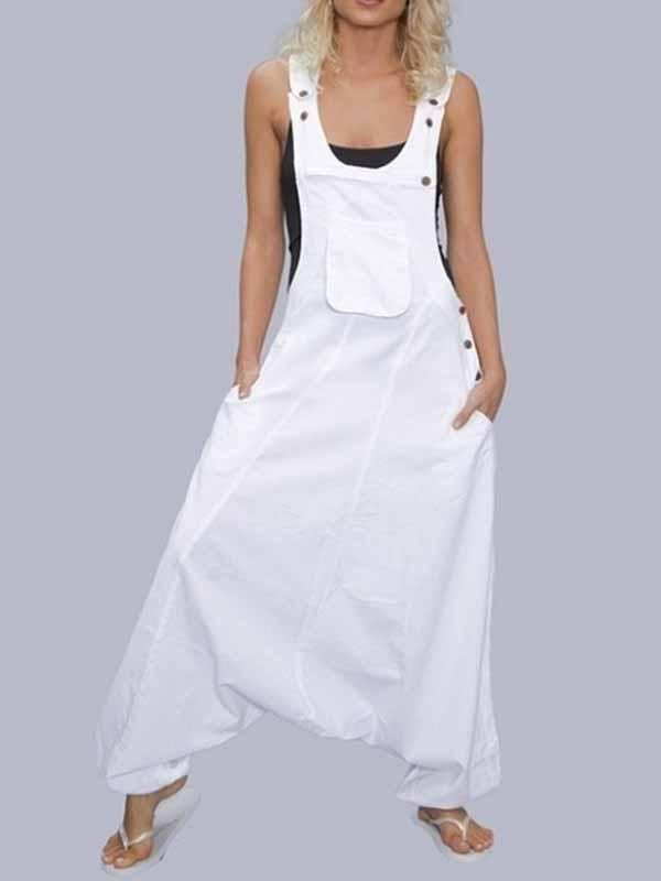 wiccous.com Plus Size Bottoms White / S Casual Cotton Linen Strap Jumpsuit