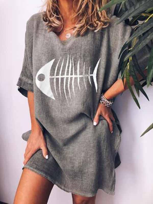 wiccous.com All Dress,Plus Size Dress Dark Gray / S Fishbone Print T-Shirt Dress