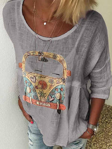 wiccous.com Plus Size Tops Grey / S Round Neck Car Print T-Shirt