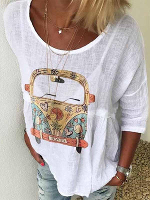 wiccous.com Plus Size Tops White / S Round Neck Car Print T-Shirt