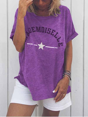 wiccous.com Plus Size Tops Purple / S Mademoiselle Star Print T-Shirt
