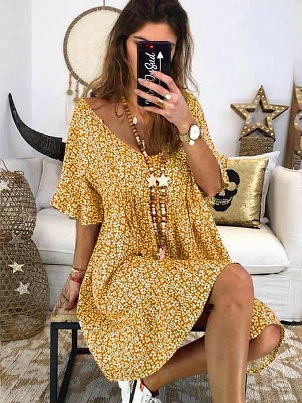 wiccous.com Plus Size Dress Yellow / S Short Sleeve Printed Dress