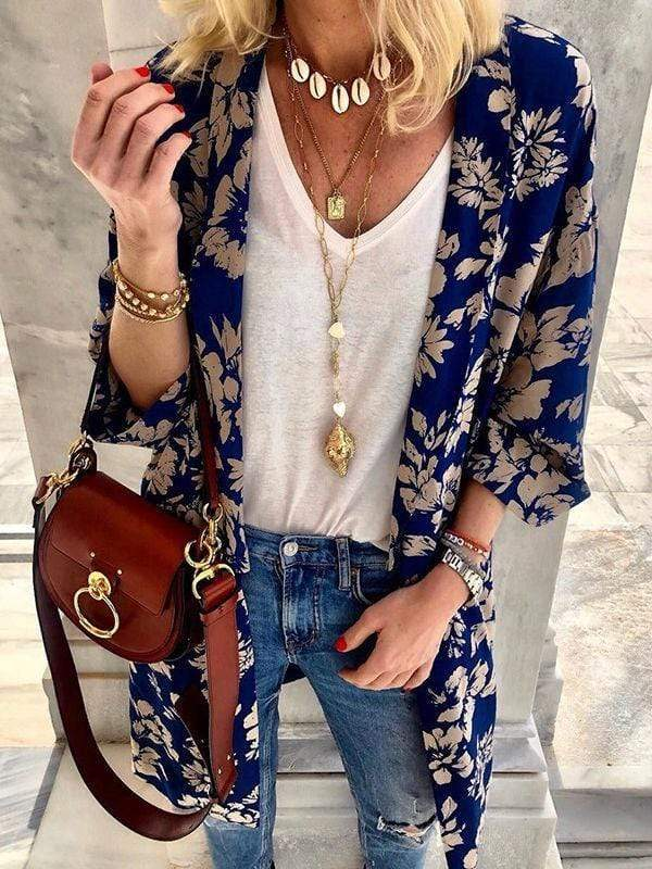 wiccous.com Blouses Blue / S Floral Batwing Sleeve Cardigan