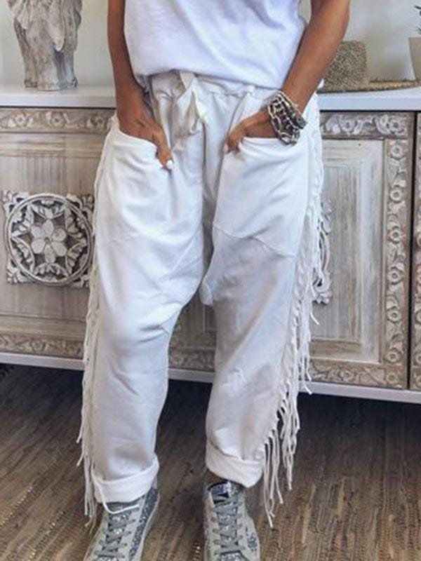 wiccous.com Plus Size Bottoms White / L Plus Size Pocket Fringed Trousers