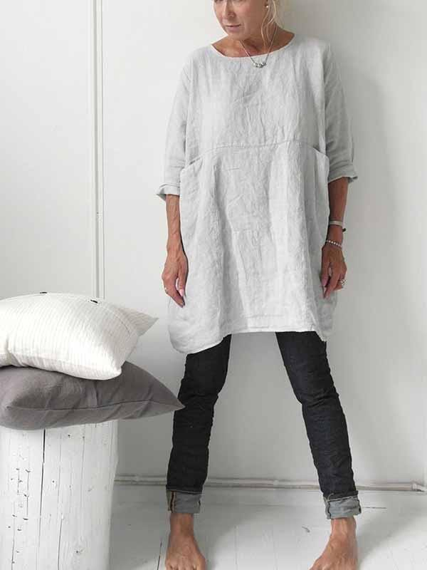 wiccous.com Plus Size Dress Grey / S Solid Color Cotton Linen Dress