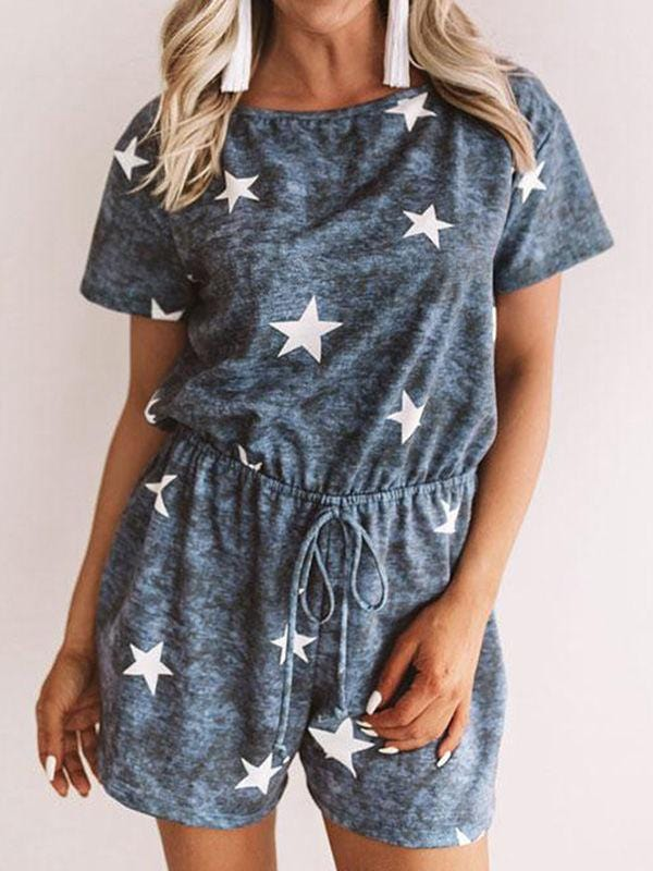 wiccous.com Bottoms Blue / S Star Printed Ties Romper