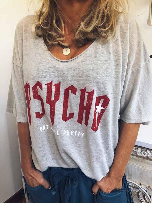 wiccous.com Plus Size Tops Grey / L Plus Size PSYCHO Print T-Shirt
