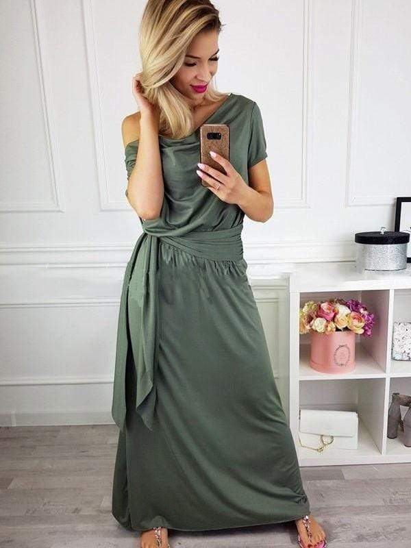 wiccous.com Maxi Dress Army Green / S Cold Shoulder Maxi Dress With Belt